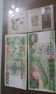 $500 ship series Singapore note