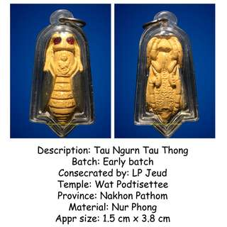 Thai Amulets - Tau Ngurn Tau Thong by LP Jeud