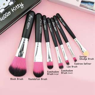 KITTY BRUSH KALENG 7 in 1 / kuas hello kitty set / make up brush - pink