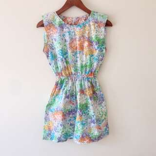 *REDUCED* Vintage Abstract Floral / Paint Print Playsuit