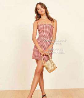 (2 Colours) Reformation Ruffle Checkered Grid Ava Dress