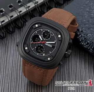 Jam Fashion Sevenfriday (SF)  Type 2time (Digital & Analog) Kode 9021 Bahan Tali Kulit .  D = 5 cm Ket = Digital & Analog Fungsi Semua  Ready 5 Warna