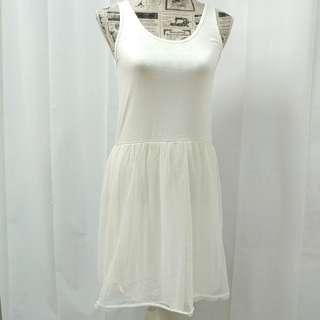 🚚 正韓 純棉背心洋裝 點點紗裙 米白色/兩色 精品店清貨