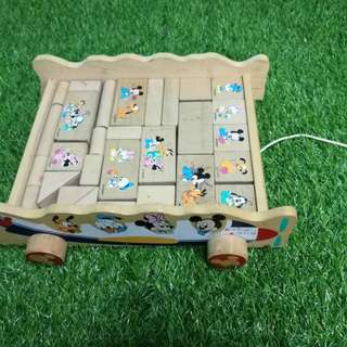 Disney wooden wagon and blocks