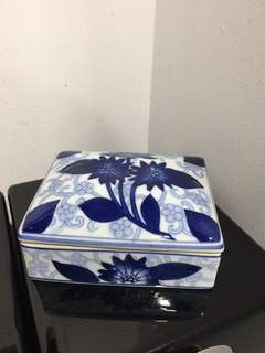 Blue/white ceramic square container (4x 5 inches )