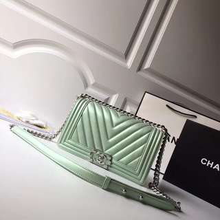 Chanel le boy lambskin leather pearl green