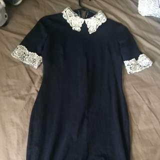 Ax paris 10 navy dress with cream lace