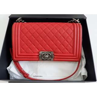 Authentic Chanel Boy Medium Red Rhw