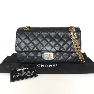 Authentic Chanel Reissue 235 Black Ghw