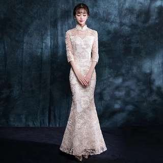 Champagne Cheongsam Mermaid Dinner Dress (Rent) Long Sleeve Evening Gown Embroidery Wedding Bridal