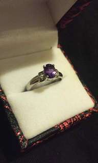 Amethyst and Sterling Silver 925 Ring 紫晶純銀戒指