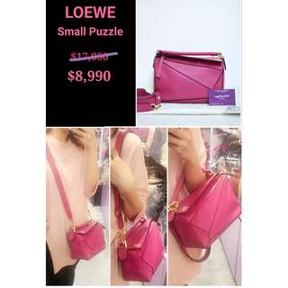 95% New LOEWE Small Bolso Puzzle Bag  桃紅色 牛皮 拼圖 肩背袋 手袋 Sharp Pink Leather Handbag
