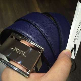 Versace men belt navy silver tone hardware