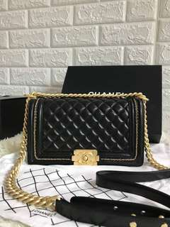 Chanel le boy quilted lambskin leather GHW