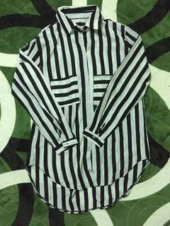 Korean Stripe Blouse Kemeja labuh