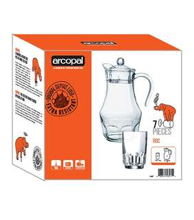 ARCOPAL 7PC DRINKSET  1.8cl jug with lid 6pc 27cl tumblers Durable, Safe, Clear Glass Water set