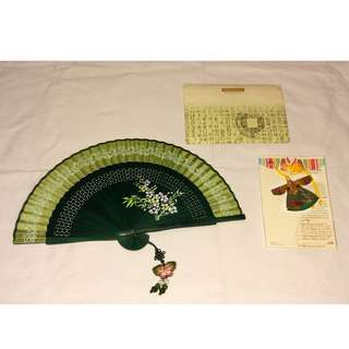 Handpainted small Korean fan (Green) with a traditional Korean bookmark