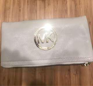 Michael Kors cream leather clutch