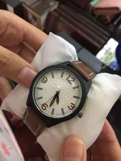 Brown and black leather watch