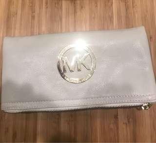 Michael Kors cream leather clutch