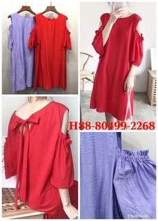 🚚 🌺後綁帶挖肩洋 顏色:藍紫.柑紅。材質:聚酯纖維 尺寸:穿XL內 胸53長86