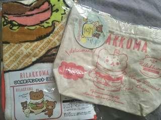 Rilakkuma small blanket + small hand bag