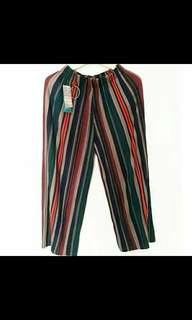 Celana panjang kulot garis plisket zara pants
