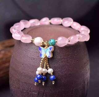 天然心形粉晶手鏈  天然淡水珍珠流蘇