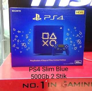 Kredit PS4 Slim Blue+Game FIFA18 2 stik Tanpa Kartu kredit