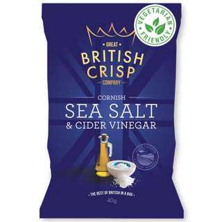 Great British Crisp Co. - Cornish Sea Salt & Cider Vinegar Potato Chips (10x150g)
