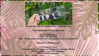 EXO OT9 TRANSPARENT BOARDING PASS FREEBIES FOR #ElyXionInKL