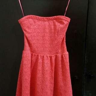 Pink Strapless Lace Dress