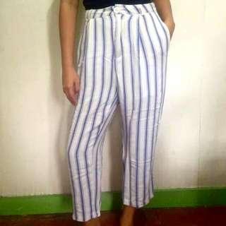 Highwaist White&blue Trouser
