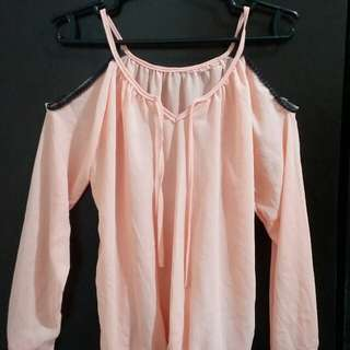 Peach Long Sleeves Cold shoulder Top