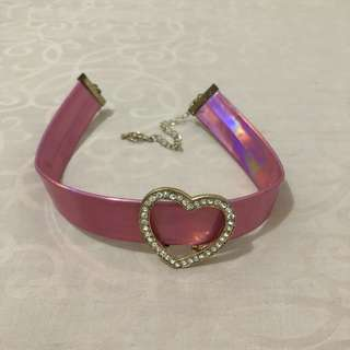 Pink heart hologram choker