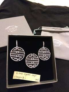 (SET) Lovelle Crystal and Onyx Silver Earring and Ring for Longevity