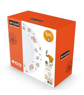 arcopal floral dinner set 19pc with free 6pc 28cl same design tumblers microwable heat resitant. tempered glass