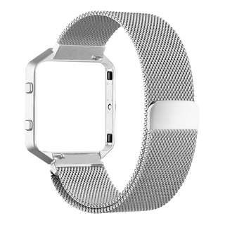 645. Metal Magnetic Milanese Watch Band Strap Silver for Fitbit Blaze