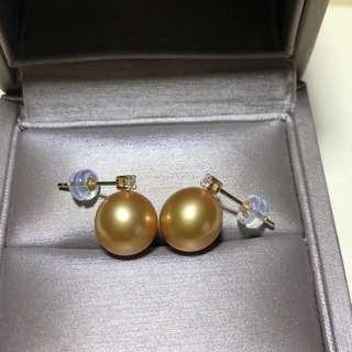 王妃款18k南洋金珠耳環