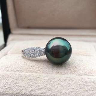 孔雀綠大溪地珍珠戒指