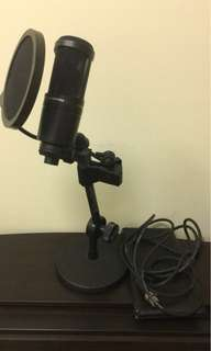 Audio Technica P48 Mic + Pop Filter and Desk Stand