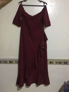 Apartment 8 Red Semi Off Shoulder Long Gown / Dress