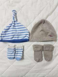 🚚 Newborn baby beanie hat & socks set