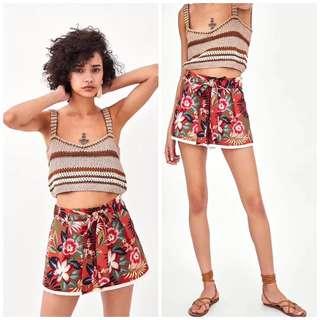 OshareGirl 06 歐美女士和風印花綁帶造型流蘇點綴光澤感短褲