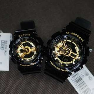 GSHOCK & BABY G BLACK/GOLD COUPLE