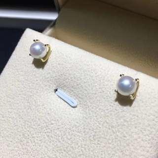 18k金日本akoya天然海水珍珠耳環