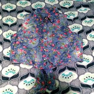 Floral Denim Crop Top