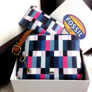 New Arrival FOSSIL Piper Toaster Multicolours Double Zip Bag