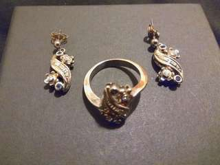 (SET) Sapphire and Silver Earring and Ring 藍寶石純銀耳環戒指