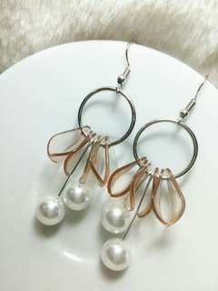 Ready !!! Anting Coklat Transparant,Mutiara